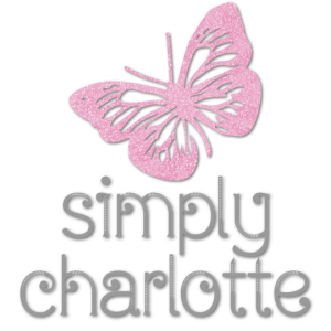 Logo for Simply-Charlotte.com pink butterfly with Simply Charlotte in glitter font underneath