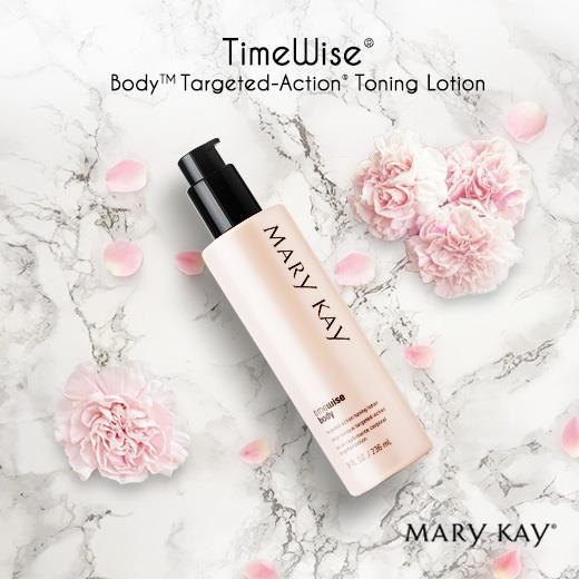 Mary Kay Timewise Toning Lotion on a marble background with pink carnations